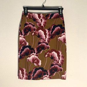 Ann Taylor Mustard Floral Pencil Skirt (Tailored)